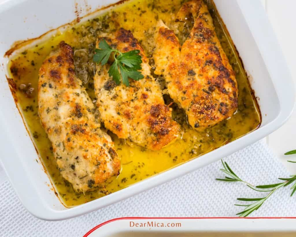 top view of Baked Chicken Breast with Garlic Butter Sauce